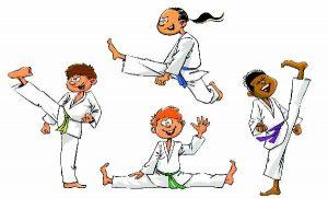 Taekwondo groupe d'enfant ludique